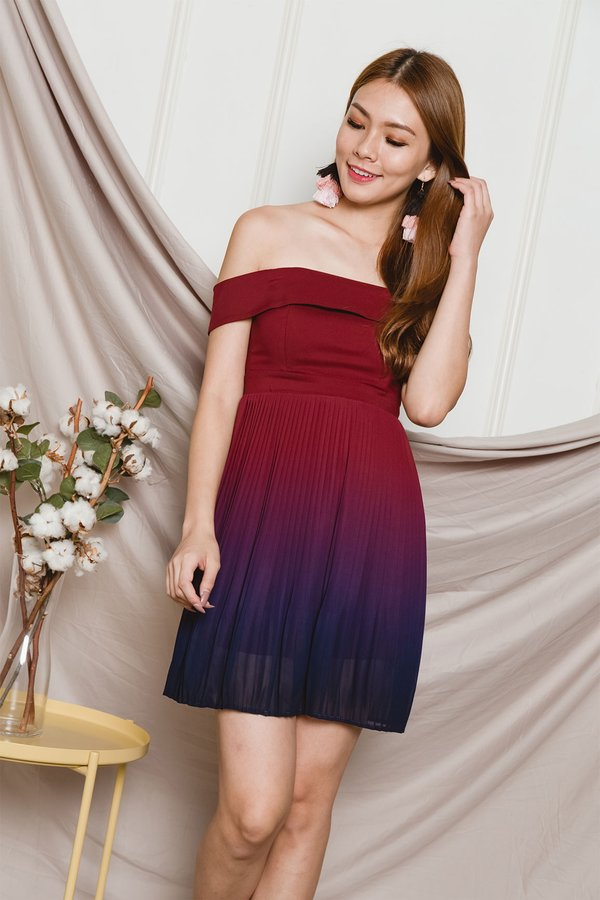 Ombre Oomph Pleated Dress Dusk