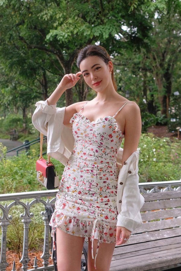 Floral Mural Ruched Drawstring Cami Dress