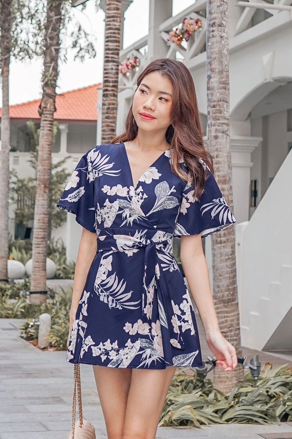 Floral Pageantry Kimono Romper Dress Navy Blue