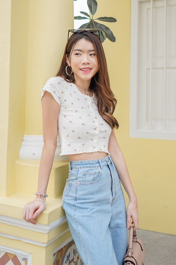Pocket Full of Posies Button Ribbed Knit Tee White