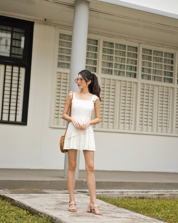 Eyelets Pretty Pleats Romper Dress White