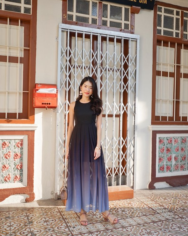 Gradient Grandeur Ombre Maxi Dress Smoke