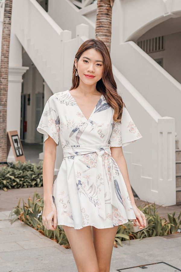 Floral Pageantry Kimono Romper Dress White
