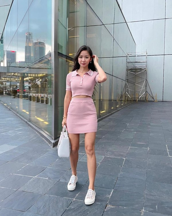Equal Parts Sporty Ribbed Knit Two Piece Set Pink