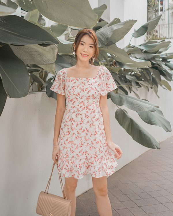 Flutterly Fabulous Floral Dress White