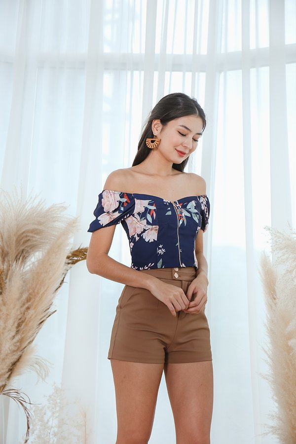 Pedigree Peonies Zip Front Crop Top Navy Blue