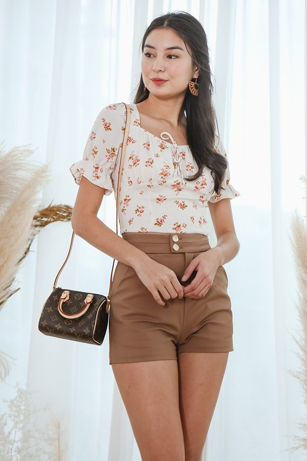 Rustic Roses Ruched Crop Top