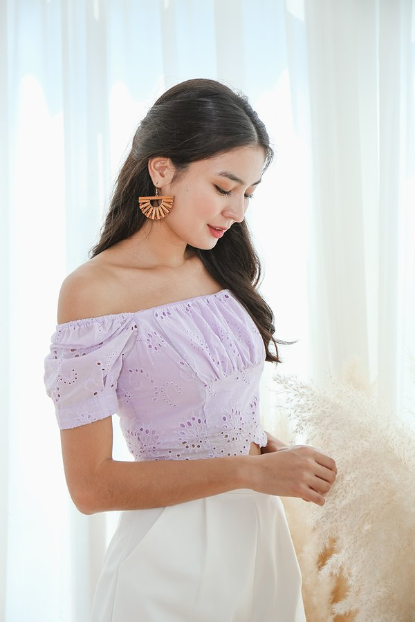 Scallop Whispers Eyelet Ruched Crop Top Lilac