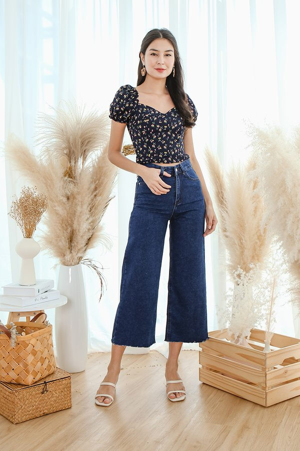 Chasing Cherries Crop Top Navy Blue