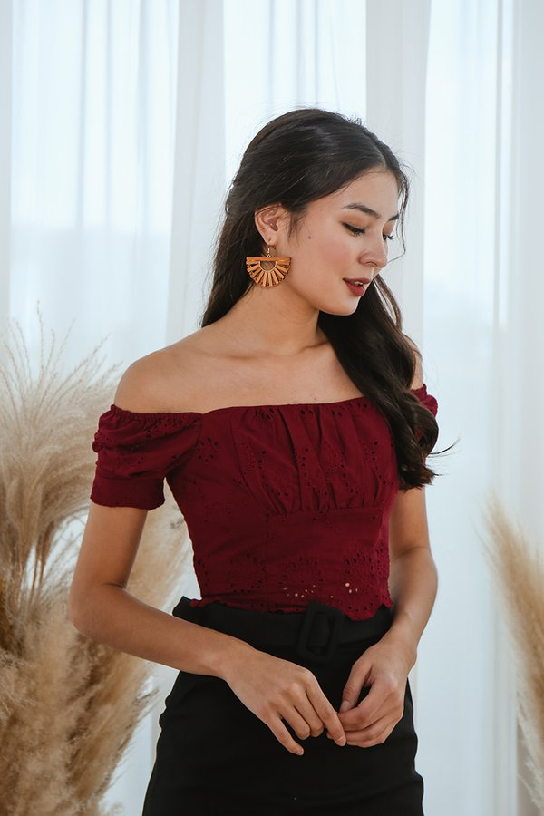 Scallop Whispers Eyelet Ruched Crop Top Burgundy Red