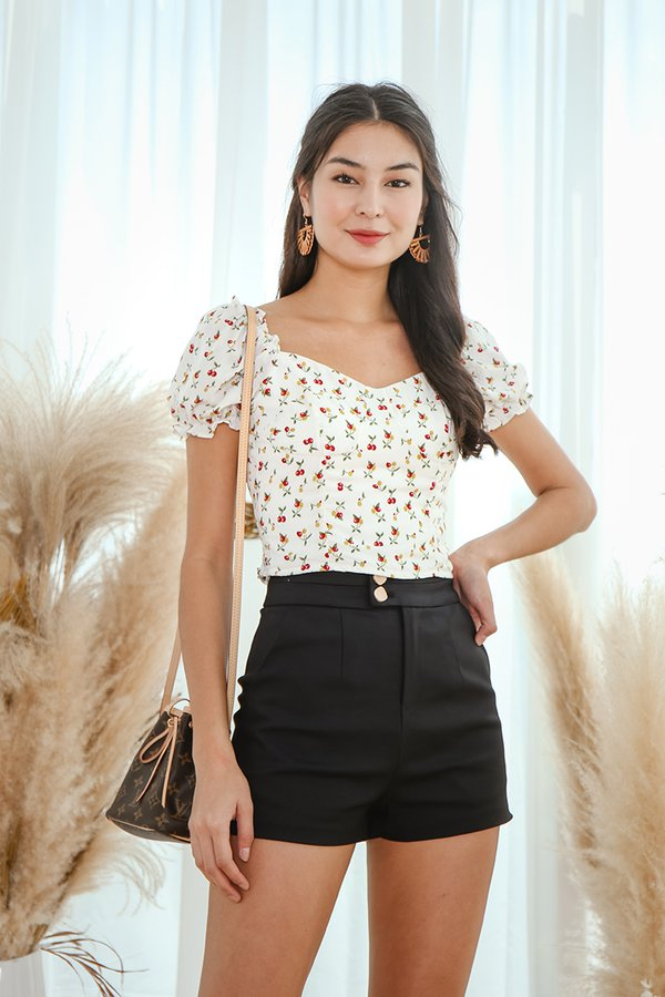 Chasing Cherries Crop Top White