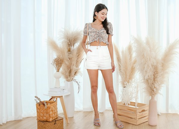 Fierce By Nature Floral Ruched Crop Top Cream