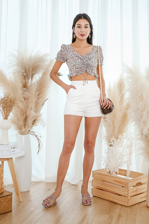 Fierce By Nature Floral Ruched Crop Top Blue