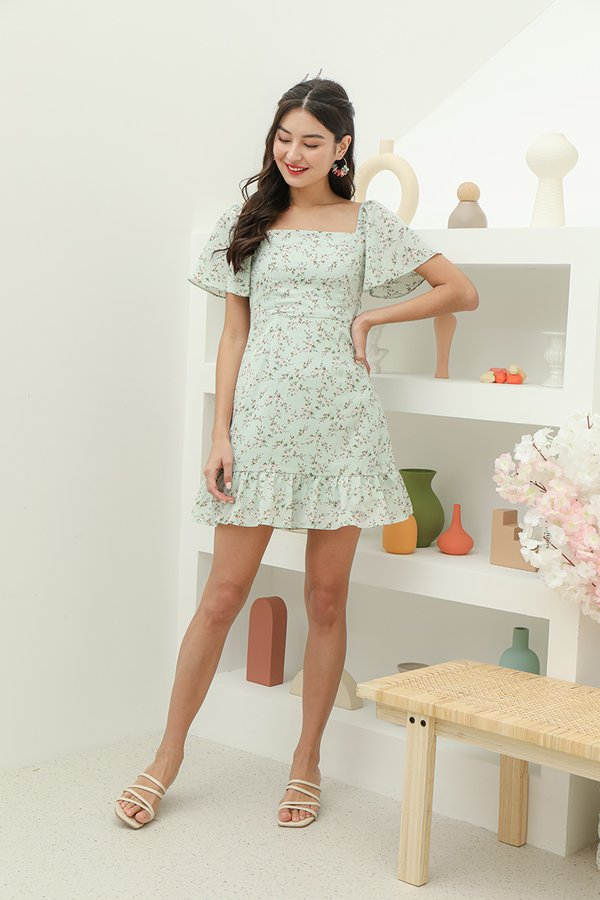 Flutterly Fabulous Floral Dress Jade Mist