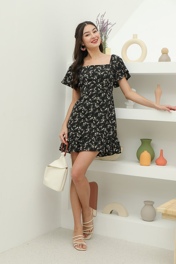 Flutterly Fabulous Floral Dress Black