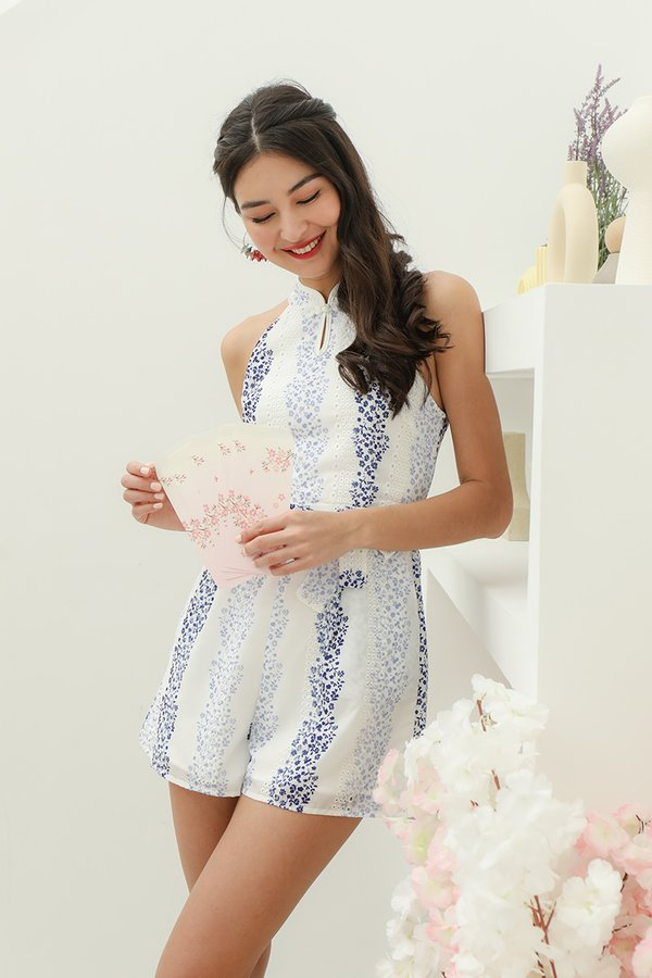 Bainian Blessings Blues Porcelain Florals Cheongsam Romper