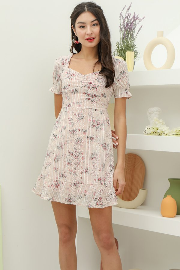 Gentle Forays Floral Embroidery Dress Blush