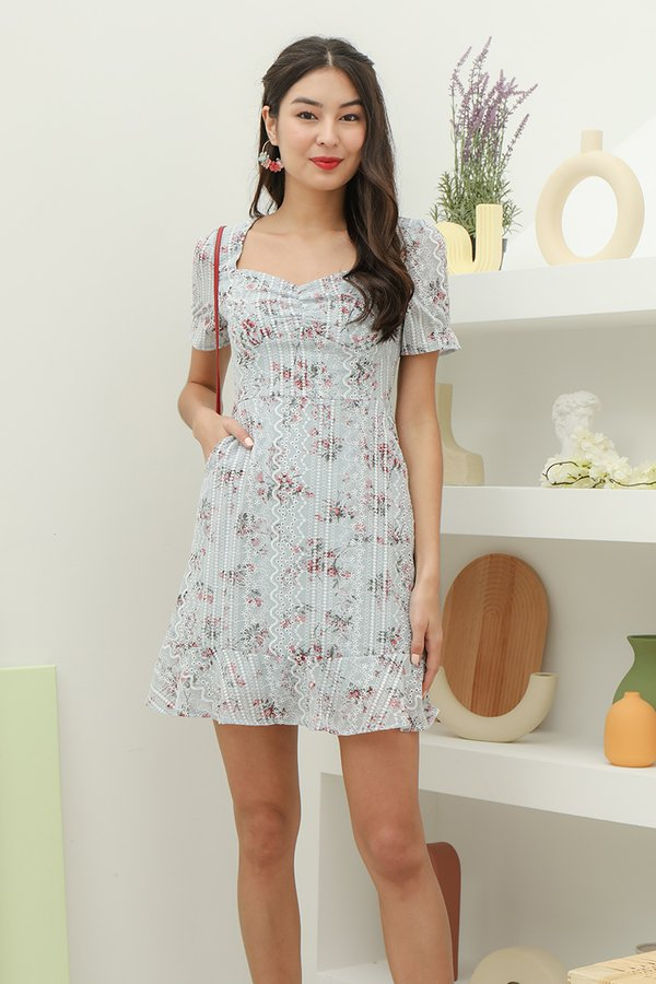 Gentle Forays Floral Embroidery Dress Pale Blue