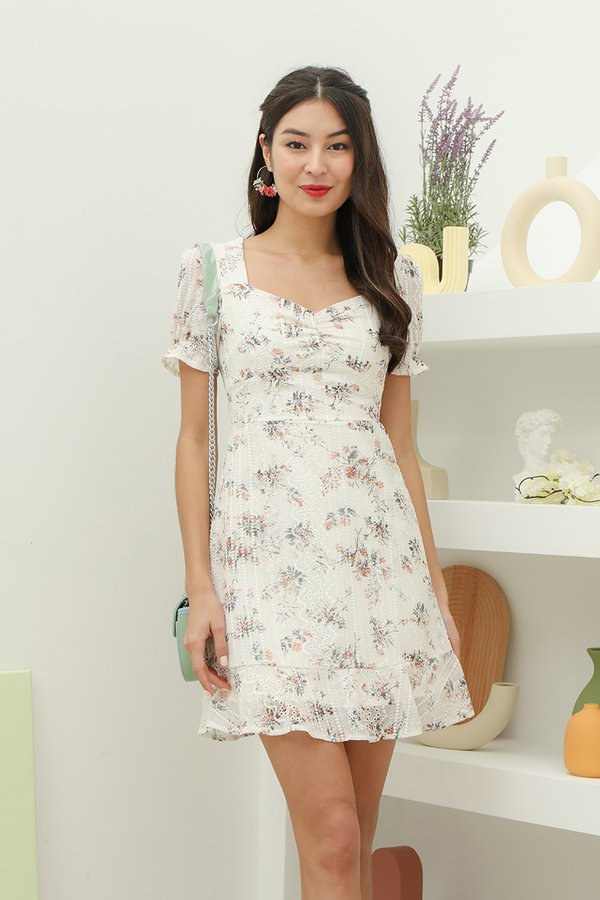 Gentle Forays Floral Embroidery Dress White