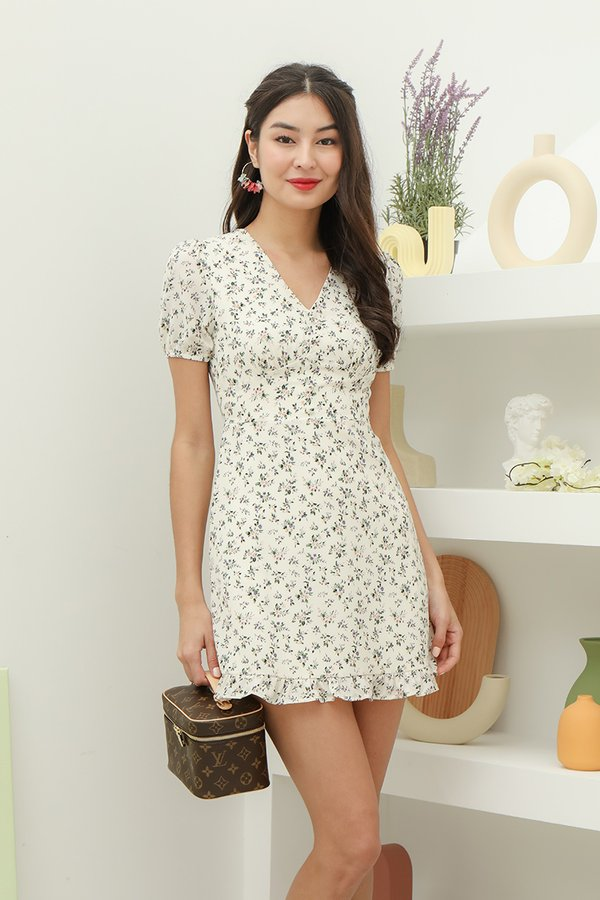 Keener Pastures Floral Button Dress White