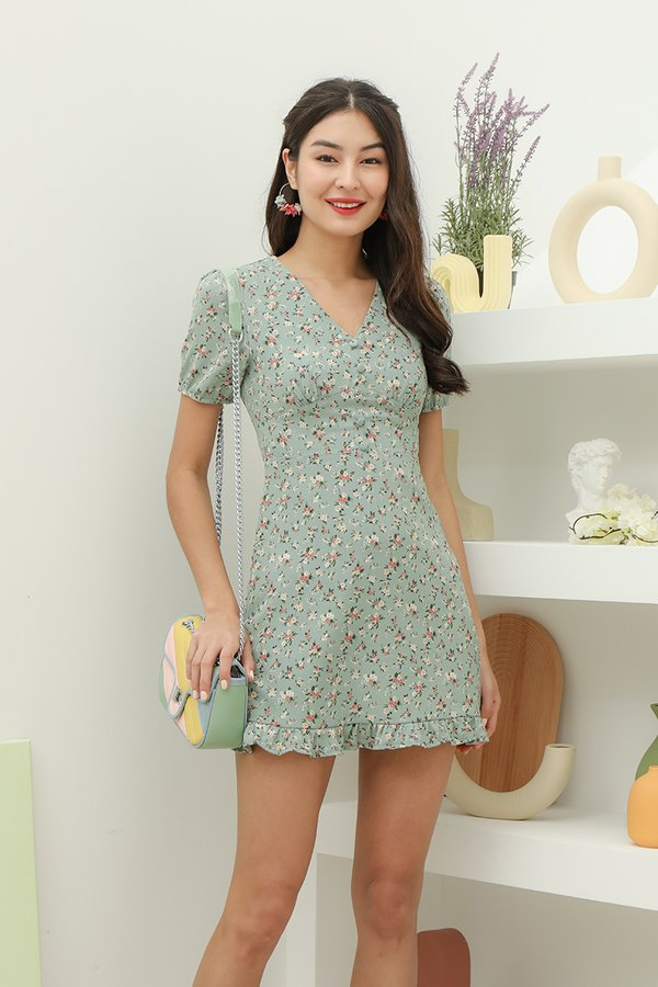 Keener Pastures Floral Button Dress Sage Green