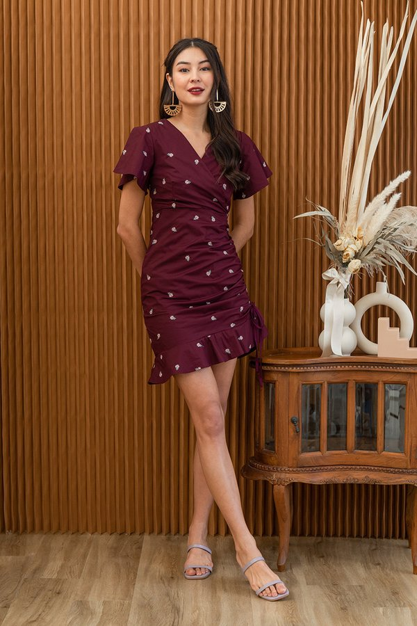 Ruching for Wraps Embroidery Dress Burgundy Red