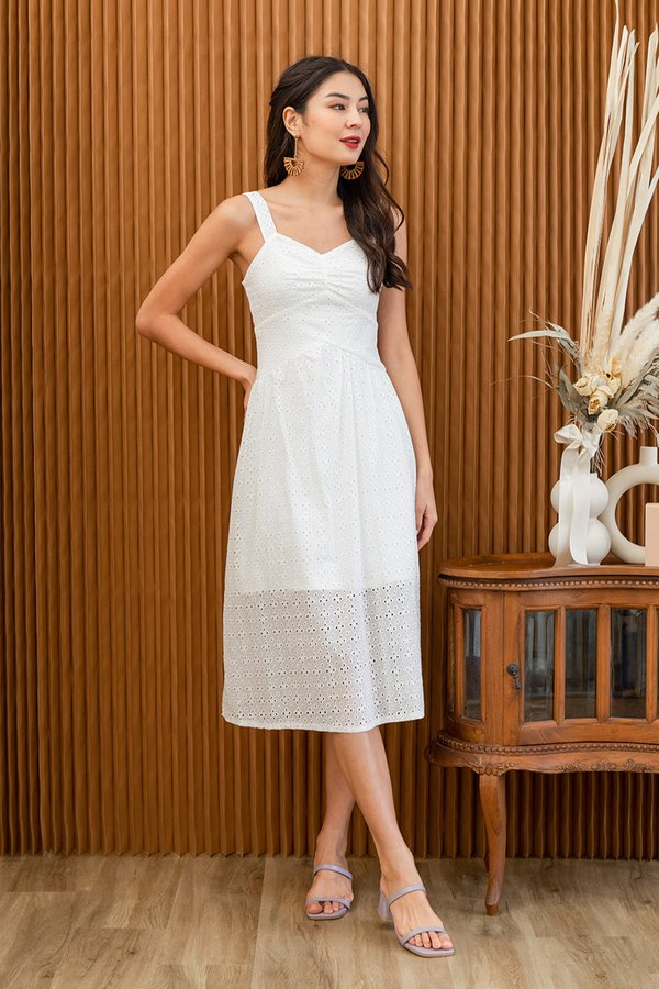 Rustic Eyelet Elements Midi Dress White