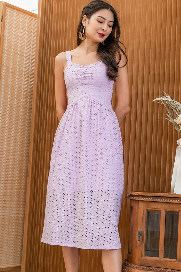 Rustic Eyelet Elements Midi Dress Lilac