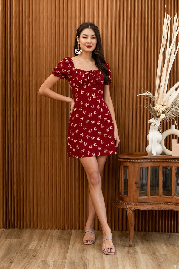 Poppy Go Lucky Shirred Tie Bust Dress Red