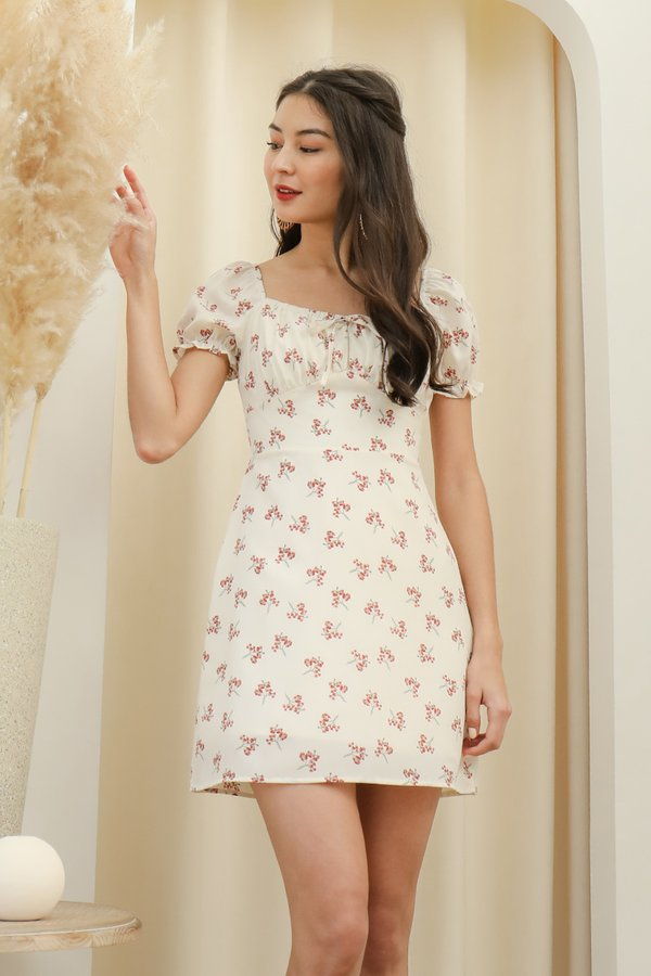 Poppy Go Lucky Shirred Tie Bust Dress White