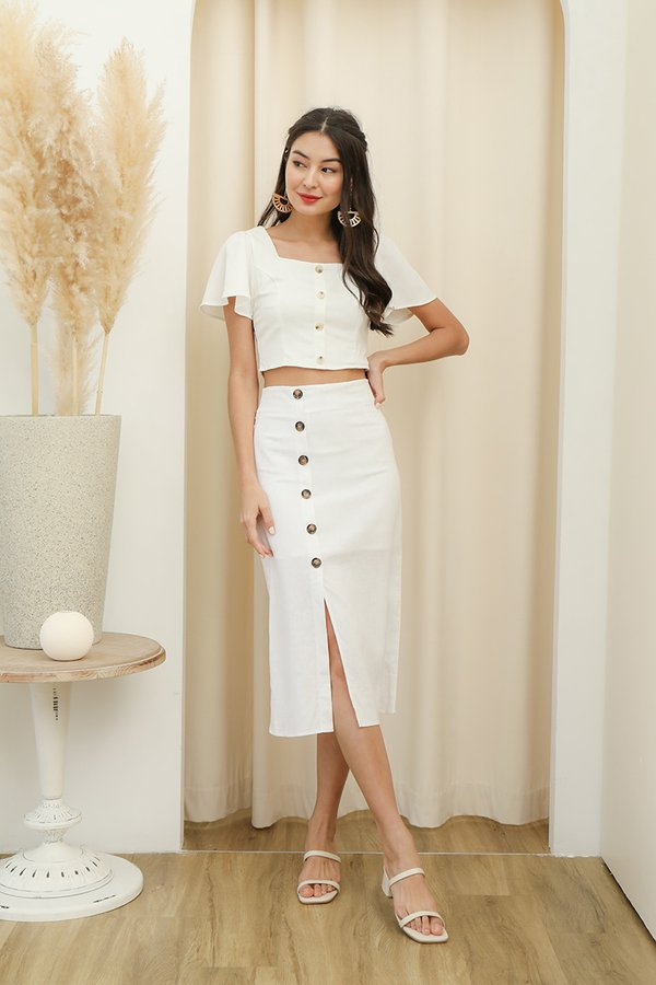 Etchings on Linen Button Midi Skirt White