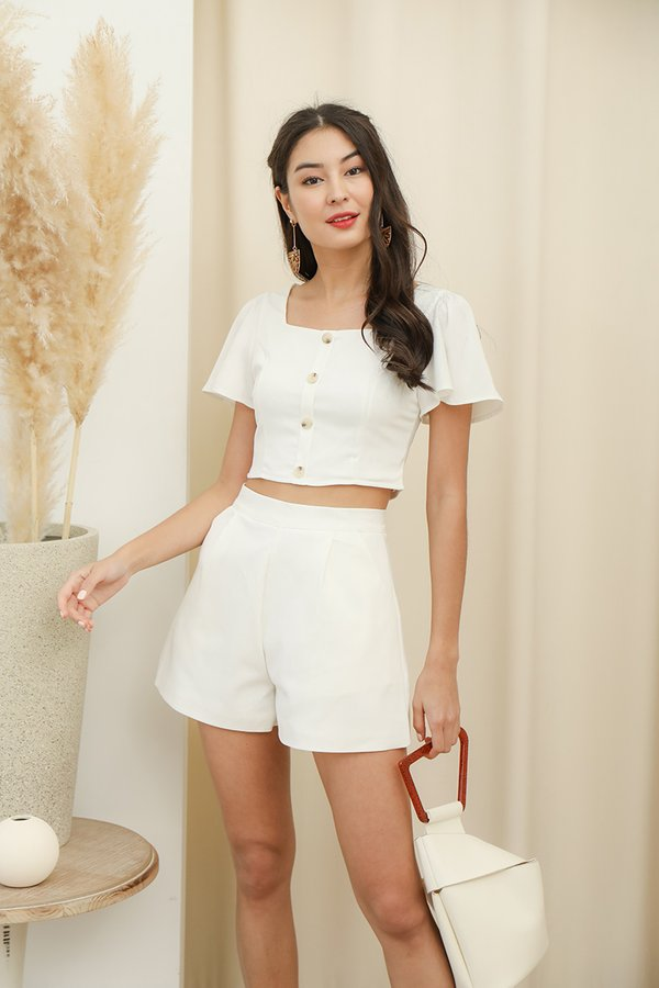 Sunday Niceties Button Crop Top White