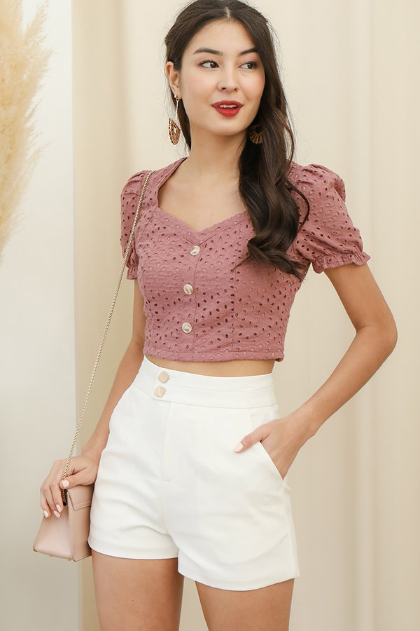 Rustling Etchings Button Eyelet Crop Top Tea Rose