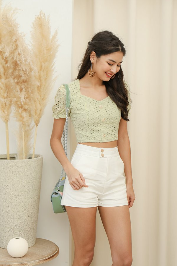 Rustling Etchings Button Eyelet Crop Top Apple Green