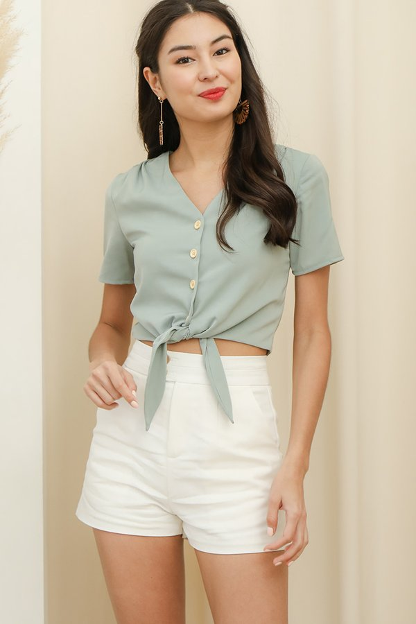 Simplicity on a Sunday Button Top Sage Green