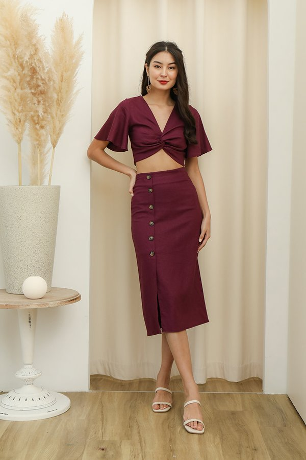 A Lesson in Luxe Linen Two Piece Set Burgundy Red