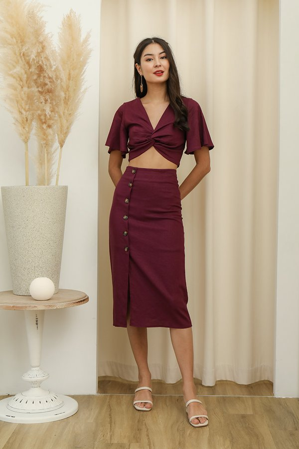 Etchings on Linen Button Midi Skirt Burgundy Red