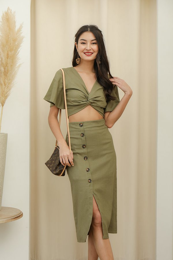 A Lesson in Luxe Linen Two Piece Set Olive Green