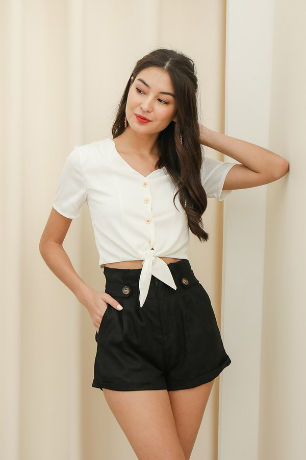 Simplicity on a Sunday Button Top White