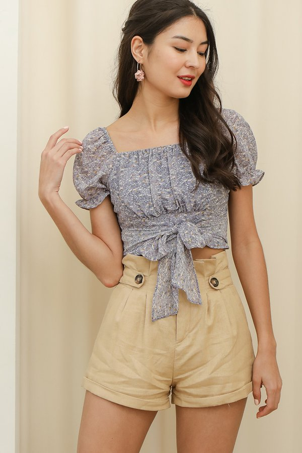 Wisps of Florals Ruched Tie Crop Top Lilac