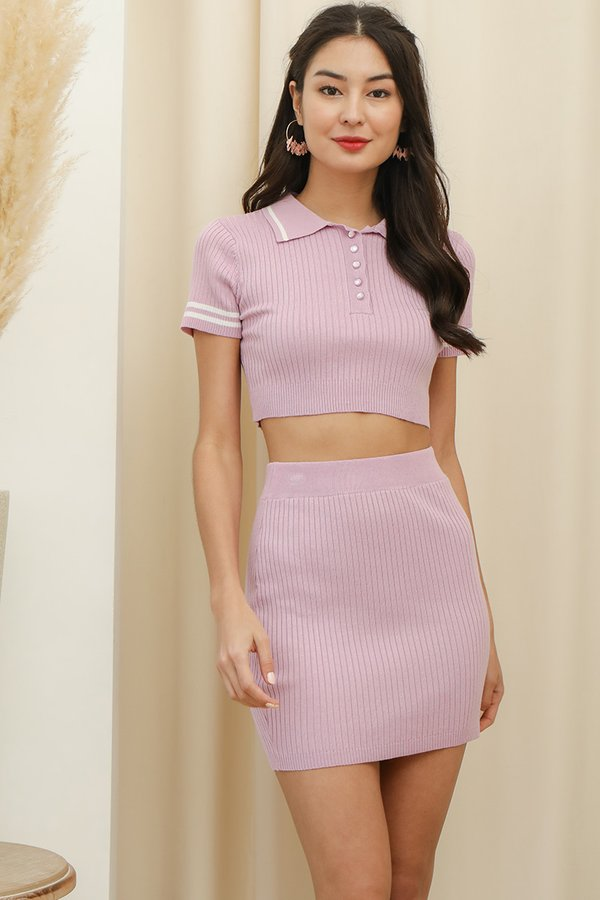 Equal Parts Sporty Ribbed Knit Two Piece Set Lilac