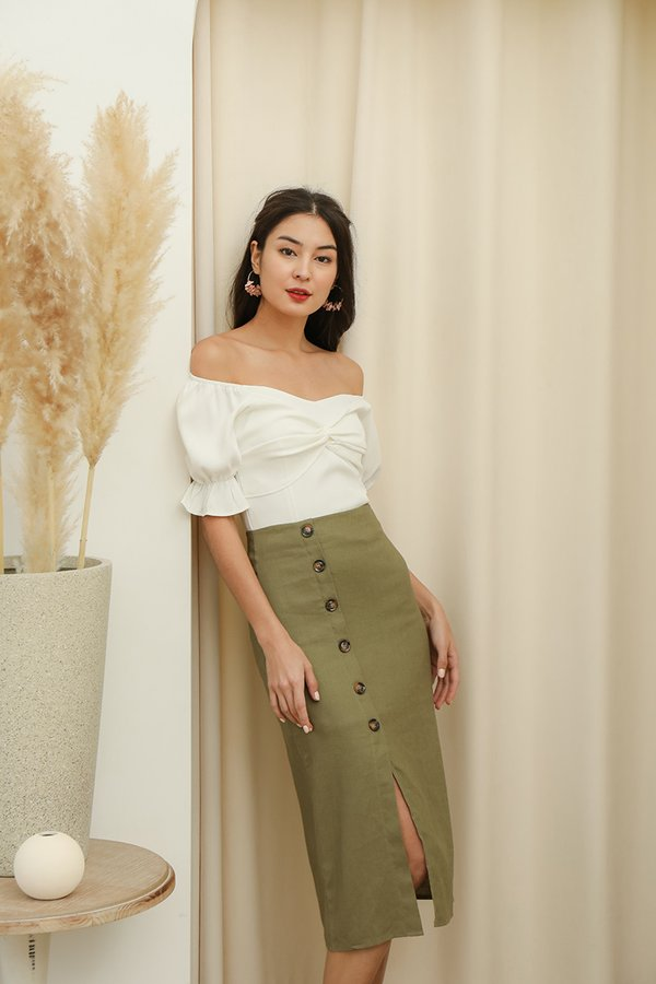 Etchings on Linen Button Midi Skirt Olive Green