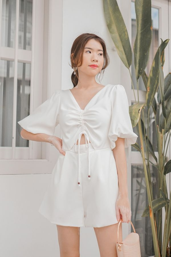 Lo and Be Scrunched Drawcord Romper White