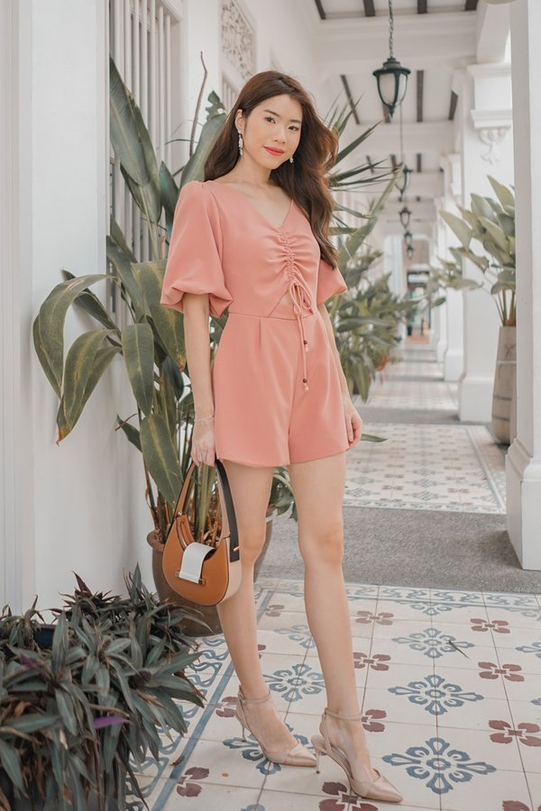 Lo and Be Scrunched Drawcord Romper Pink