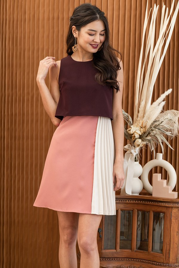You Com-pleat Me Colourblock Overlay Dress Burgundy Red