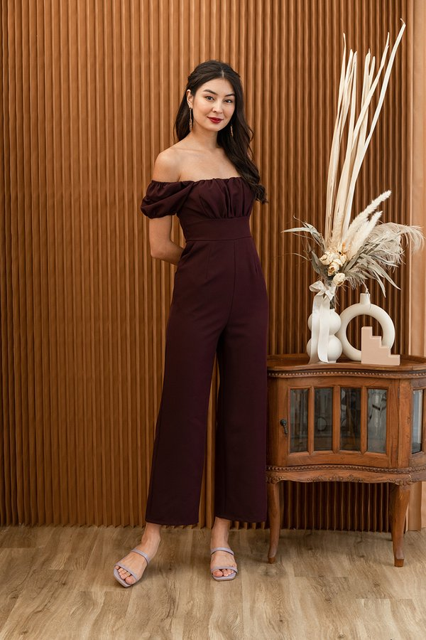 Sartorial Shirring Moment Jumpsuit Burgundy Red