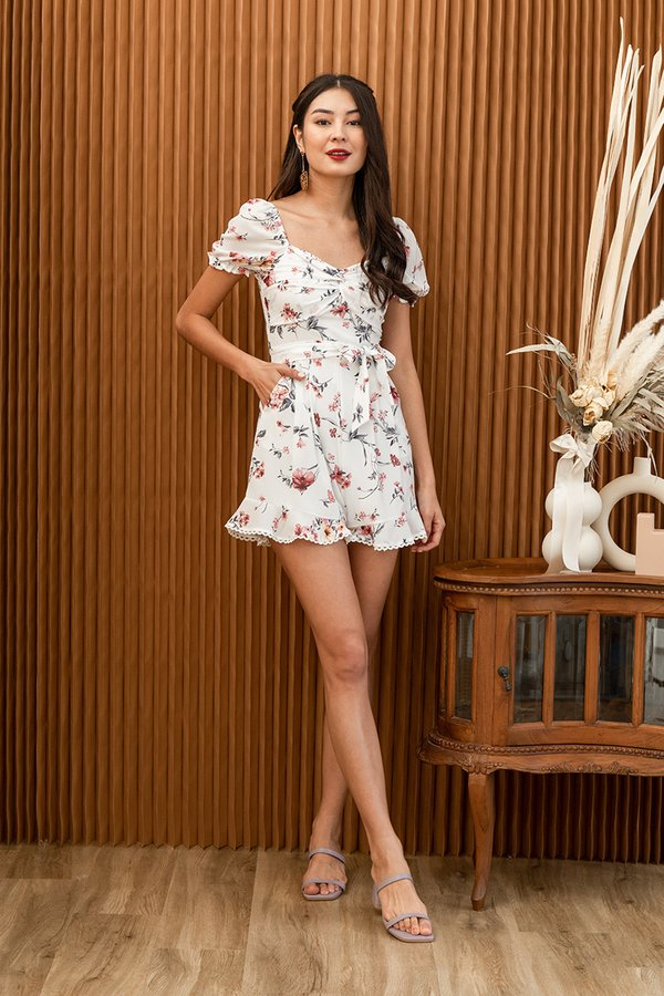 Onward to Afresh Floral Twist Romper White