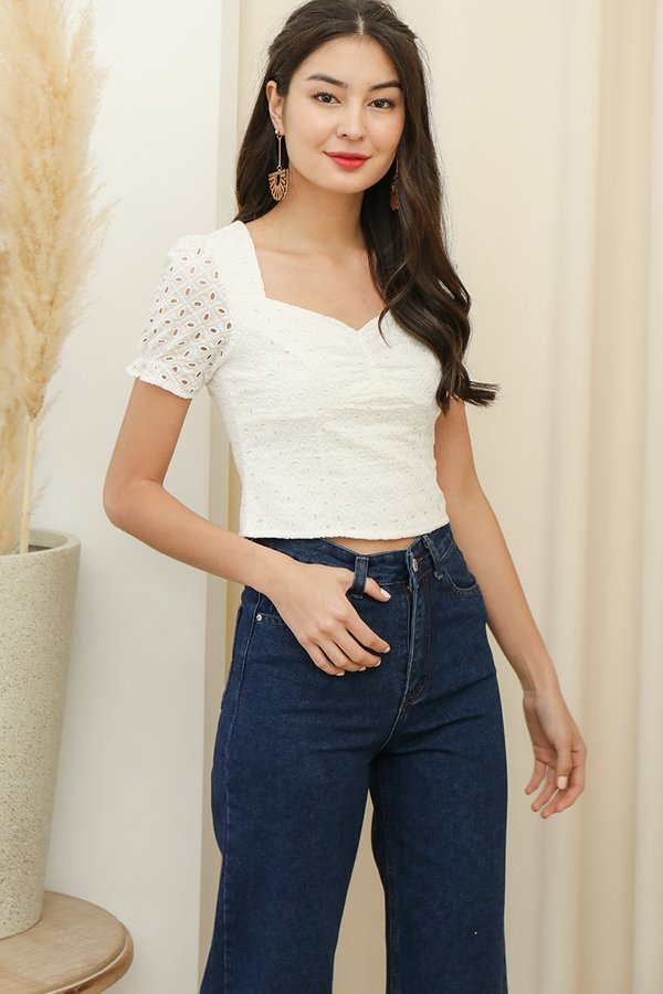 Sweetheart Sentiments Eyelet Top White