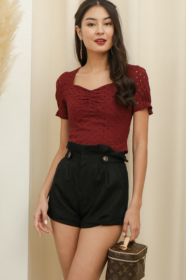 Sweetheart Sentiments Eyelet Top Burgundy Red
