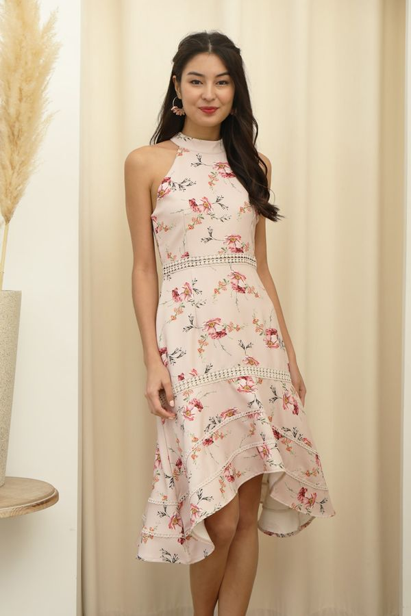 Highnecked Heirlooms Florals Midi Dress Blush Peony